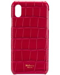 Mulberry Crocodile Effect Iphone X Cover - Red