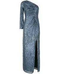 Aidan Mattox Sequin One-shoulder Ruched Gown - Blue