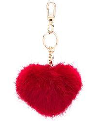 Twin Set - Heart-shaped Pompom Keyring - Lyst