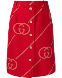 Gucci GG Logo Skirt - Red