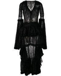 Amen High Low Hem Lace Dress - Black