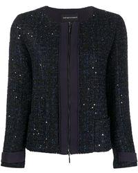 Emporio Armani Glitter Tweed Zip Jacket - Blue
