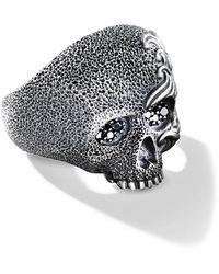 David Yurman Anello a forma di teschio con diamanti - Multicolore