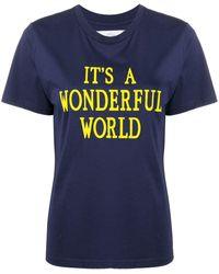 Alberta Ferretti スローガン Tシャツ - ブルー