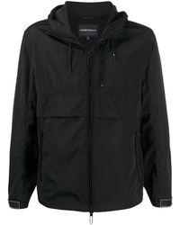 Emporio Armani Layered Style Logo Print Jacket - Black