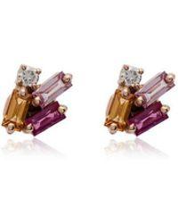 Suzanne Kalan - Suzanna Kalan Rainbow Sapphire Diamond Earrings - Lyst