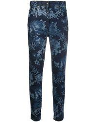 Etro Cropped-Jeans mit Blumen-Print - Blau