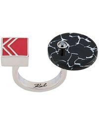 Karl Lagerfeld カラーブロック オープンリング - メタリック