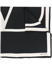 Valentino Garavani Vロゴ シルクスカーフ - ブラック