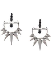 Elise Dray - 18kt Gold And Diamond Drop Spiked Earrings - Lyst