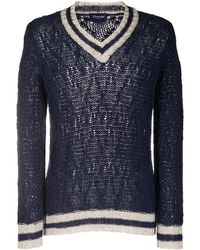 Drumohr Cable Knit V-neck Sweater - Blue