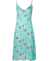 R13 Floral-print Slip Dress - Green