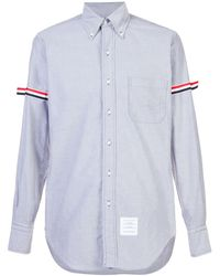 Thom Browne Grosgrain Armband Oxford Shirt - Blue