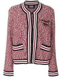 Karl Lagerfeld - Applique Patch Boucle Cardigan - Lyst