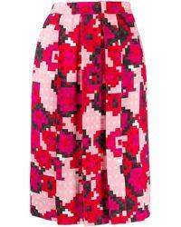 Marni Falda con estampado pixelado y pliegues - Rosa