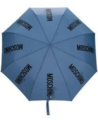 Moschino ロゴ 傘 - ブルー