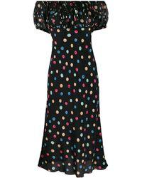 RIXO London Gina ポルカドット シルクドレス - ブラック
