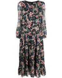 Saloni グラフィック ドレス - ブラック