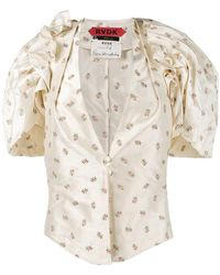 Ronald Van Der Kemp - Floral Print V-neck Blouse With Puff Sleeves - Lyst