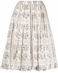 Sara Lanzi Falda de cintura alta con motivo floral - Negro