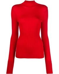 Mrz Ribbed Knit Wool Jumper - Red