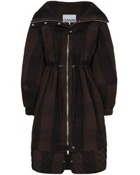 Ganni Check-pattern Zip-up Parka Coat - Black