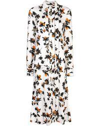 Derek Lam Robe-chemise longue à fleurs - Blanc