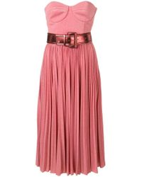 Elisabetta Franchi - Strapless Flared Midi Dress - Lyst