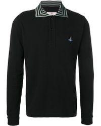 Vivienne Westwood Striped Collar Polo Shirt - Black