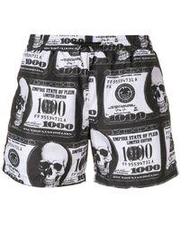 Philipp Plein Dollar Bill Print Swim Shorts - Black