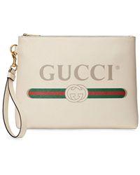 Gucci Logo Print Clutch Bag - White