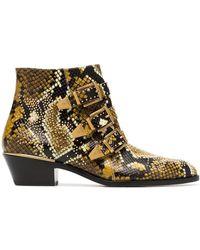 Chloé Yellow And Black Susanna 30 Python Print Leather Boots - Bruin