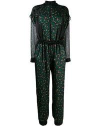 Sacai Leopard Print Chiffon Jumpsuit - Green