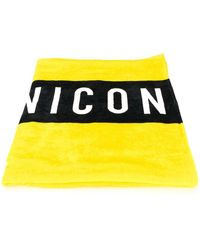 DSquared² Icon Print Beach Towel - Geel