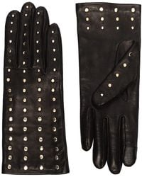 Agnelle Claire Studded Leather Gloves - Black
