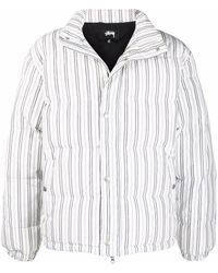Stussy ストライプ パデッドジャケット - ホワイト