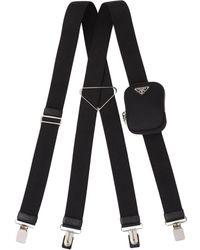 Prada ロゴ サスペンダー - ブラック
