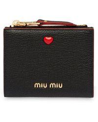 Miu Miu Portemonnee Met Hart Detail - Zwart