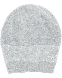 Fabiana Filippi Sequinned Beanie Hat - Gray
