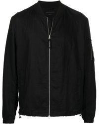AllSaints リネン ボンバージャケット - ブラック