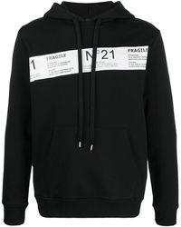 N°21 ロゴ ストライプ パーカー - ブラック