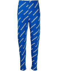 Balenciaga Logo Print Fitted Trousers - Blue