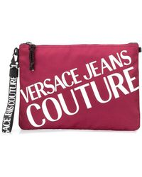 Versace Jeans Contrast Logo Clutch - Red
