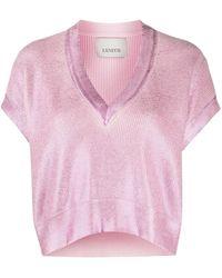 Laneus Укороченный Джемпер С V-образным Вырезом - Розовый