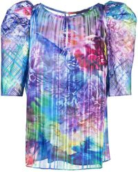 Marchesa notte Floral-print Belted Blouse - Blue