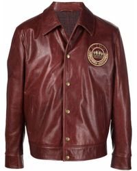 Etro Logo-patch Leather Jacket - Red