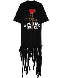 Palm Angels Rose-print Fringed T-shirt - Black