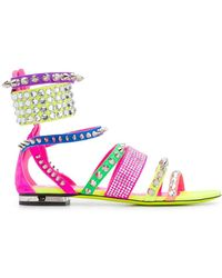 Philipp Plein Studded Colour-block Sandals - Pink