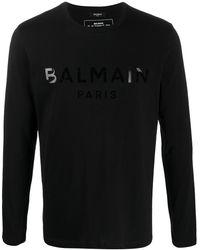 Balmain ロゴ ロングtシャツ - ブラック