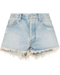 Off-White c/o Virgil Abloh Pantalones vaqueros cortos con logo - Azul